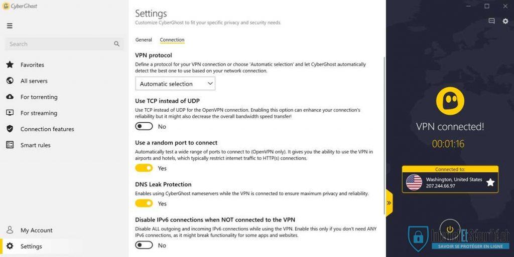 cyberghost options de connexion