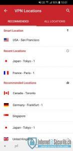 liste des serveurs expressvpn android