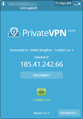 test privatevpn interface