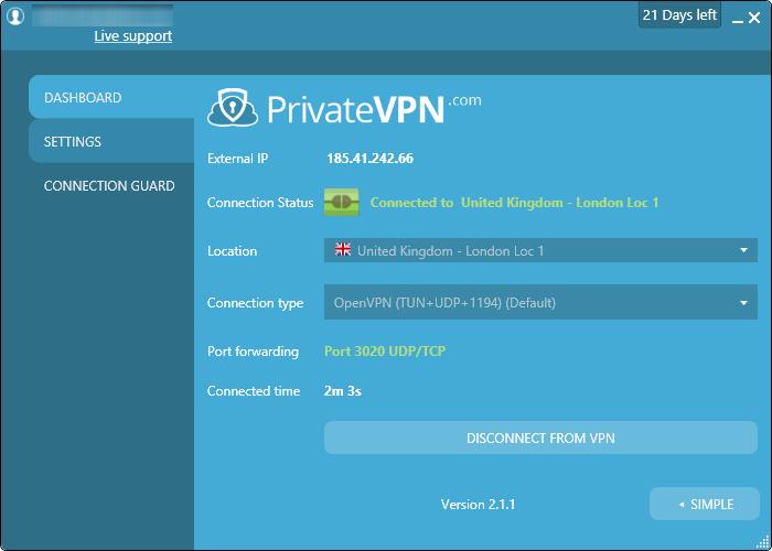 test privatevpn interface avancée