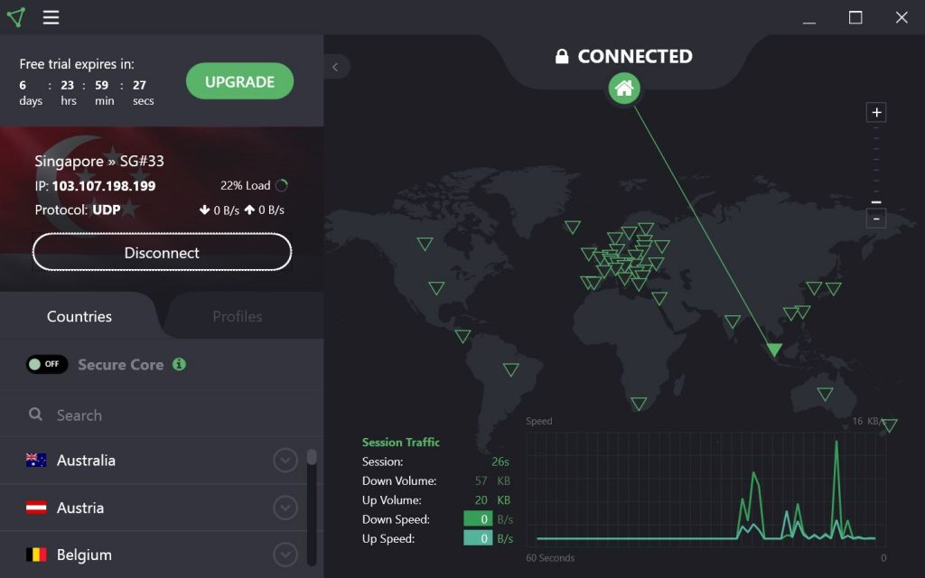 Autre interface de Proton VPN