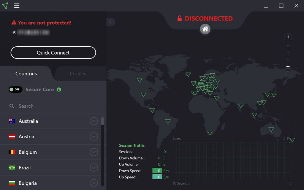 L'interface de ProtonVPN