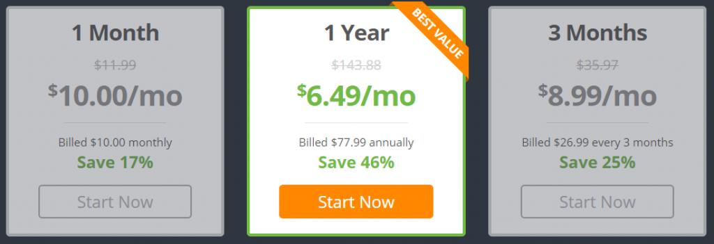 IPVanish tarifs